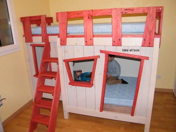 Lit cabane superpose le reve de nos enfants le lit cabane - Fabriquer des lits superposes ...